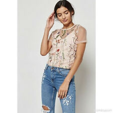 NWT Designer NEW LOOK  Floral Embroidered Sheer Overlay Top with Cami Top P