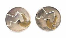 "Vtg 1950s STUDIO Modernist ""MC"" Monogram Sterling Silver & GOLD Round Cufflinks"