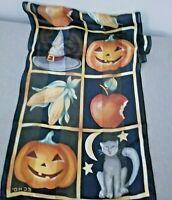 Echo Rectangular Silk Scarf for Autumn Halloween Cat Pumpkin Corn Witch 50 x 10