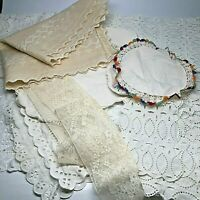 Vintage Lot of Lace & Eyelet Table Scarfs, Sachets, Runners, Trim 15 Pieces