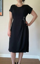 Vintage 1940S Blakely Black Dress With Beads Flowers Women's M/L