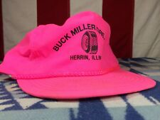 VTG 80'S 90'S HOT NEON PINK RETRO NYLON BEACHWEAR HAT STRAP BACK Petroliana