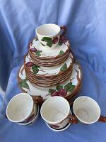 Vintage 23 Lot Franciscan Apple Blossom Dinner Salad Desert Plates Cups USA