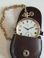 Astral 9ct Gold Pocket Watch with 9ct Gold watch chain & leather belt pouch GWO