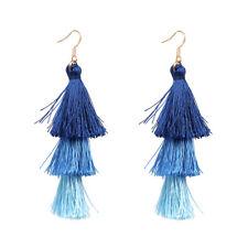 Colorful Womens Bohemian Earring Vintage Long Tassel Fringe Dangle Earrings #5 Blue