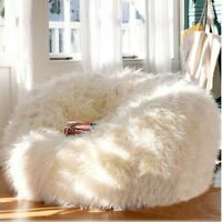 XTRA Large Luxury 400L Sheepskin Bean Bag COVER ONLY Faux Fur Shaggy White Soft