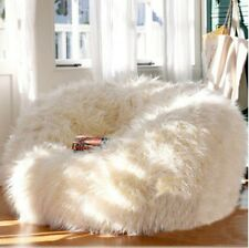 XTRA Large Luxury 400L Sheepskin Bean Bag COVER Faux Fur Shaggy White Soft Chair