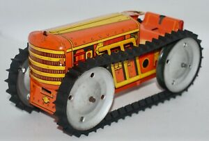 Vintage 1930's/40's Marx Tractor w/ Rounded Front Tin Lithograph Wind-Up Toy