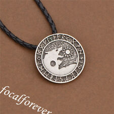 Norse Viking Silver Wolf Necklace Round Pendant Black Leather Chain Men Jewelry