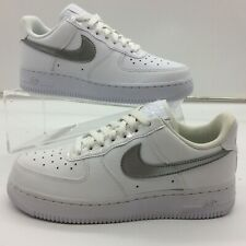 NIKE LADIES UK 4 EU 36.5 AIR FORCE 1 LOW LEATHER TRAINERS WHITE SILVER M
