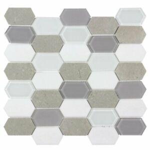 Hexagon White Cinderella Gray Glossy Thassos Marble Glass Mosaic Tile MTO0127