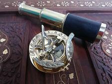 Antique Brass Telescope Leather Grip Brass Sundial Compass Maritime Decorative