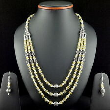 NATURAL CITRINE TOPAZ GEMSTONE BEADED BEAUTIFUL NECKLACE,EARRING 59.5 GRAMS 5 MM