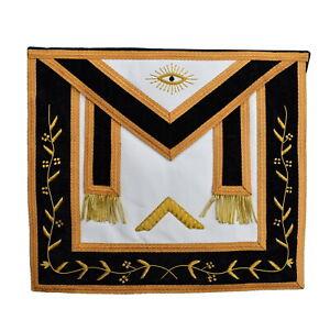 Masonic Lambskin Masonic  Apron Black Gold White