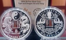 Tiger Dragon & Yin Yang $8 Pure Silver SQUARE-HOLED COIN 2016. Mint Sold Out.