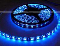 Waterproof Blue 5M 300 Leds 60/M 5050 SMD LED Flexible Strip Light 12V Black PCB
