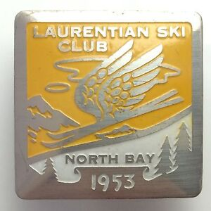 1953 Laurentian Ski Club North Bay Ontario Metal Button Brooch Badge Pin B113