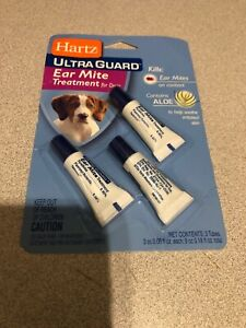 Hartz UltraGuard Dog Ear Mite Treatment For Dogs, w/ Aloe, 0.101 fl oz, 3 Ct CP