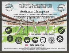 AUSTRALIA AUSIPEX 1984 EXHIBITION CRICKET SHEET Overprinted 1992 WORLD CUP FINAL