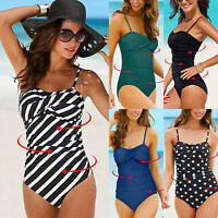 Womens Tummy Control Tankini One Piece Swimsuit Swimwear Padded Bikini Plus Size