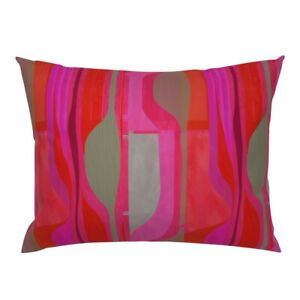 Hot Pink Red Fuschia Midcentury Modern Art Abstract Wavy Pillow Sham by Roostery