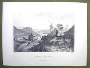 EGYPT Nile Rever Scenery at Second Cataract - 1880s Antique Print Engraving