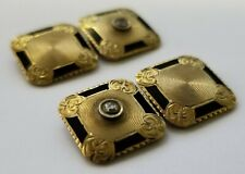 Men's Antique Victorian Edwardian 14K Gold Diamond Black Enamel Cufflinks