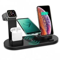 Qi Inalámbrico Cargador Dock de 6en 1 para i Watch 5/4/3/2/1 iPhone 12 XS AirPod