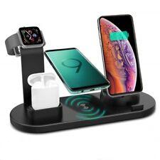 Qi inalámbrica 6en 1 Soporte de carga para i Watch 5/4/3/2/1 iPhone 12 XS AirPod