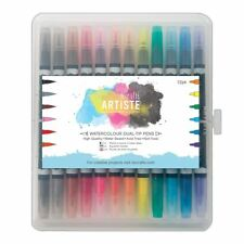 Artiste Watercolour Dual Tip Pen Brush and Marker, Pack of 12