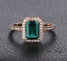 Halo Engagement Ring 6x8mm Treated Emerald Diamond Wedding Gift 14K Rose Gold
