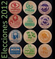 ELECCIONES 2012 Set 6 Partido PUERTO RICO Ficha Politics Wooden Nickel 1/200