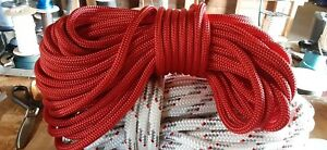 """1/2 """" x 50 ft. Double Braid-Yacht Braid Polyester Rope.Red. Made in USA"""