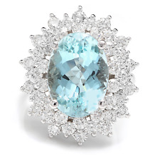 10.25 Carats NATURAL AQUAMARINE and DIAMOND 14K Solid White Gold Ring