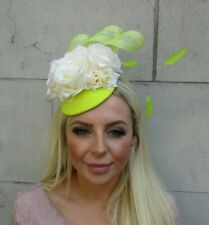 Cream & Lime Green Neon Citrus Yellow Rose Flower Feather Fascinator Hat 0736