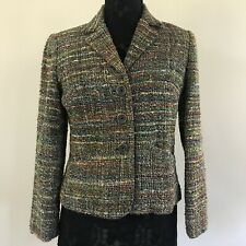 Coldwater Creek Womens XS Petite Green Multicolor Tweed Blazer Silk Blend VGC
