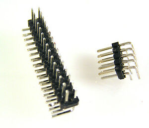"""0.1"""" 2.54mm PCB DIL Pin Header Right Angled Plug Range  to 30 Way EB34 5 pieces"""