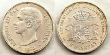 Spain-Alfonso XII. 5 Pesetas 1875*18-75. DEM. Madrid MBC+/VF+ Plata 25 g. ESCASA