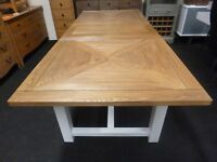 New Large Parquet Oak & White Extending Dining Table 1.85-2.3M *Furniture Store*