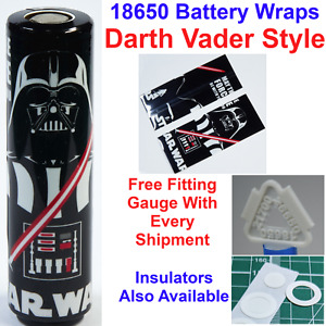 6 X Darth Vader Styled 18650 Battery Wraps - Heat Shrink PVC Sleeves