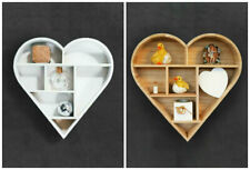 White/Natural Wooden Heart Shaped Floating Wall Shelf Hanging Display Unit Rack