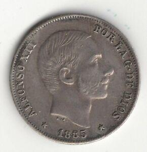 HIGHER GRADE 1885 PHILIPPINES SILVER 20 CENTAVOS