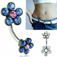Crystal Flower Navel Belly Dance Dangle Button Ring Bar Body Piercing Jewelry