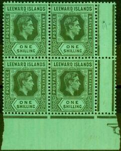 Leeward Islands 1942 1s Grey & Black-Emerald SG110ba Fine MNH Block of 4