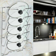5 Tier Pan Lid Storage Rack Wall Mount Pot Cover Organizer Holder Kitchen Tool