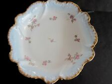 Limoges 9 inch Bowl 1 3/4 high blue/white interior, Heavy Gold Trim, Pink Roses