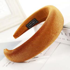 Women's Velvet Headband Padded Hairband Wide Sponge Hair Hoop Band Accessories