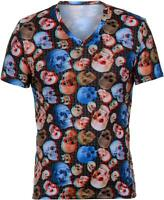 Bruno Banani Men's V-Shirt Top Undershirt Printed 3D Skulls Designer