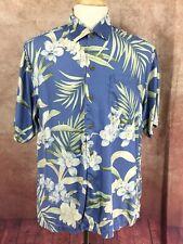 Tommy Bahama Short Sleeve Hawaiian Floral 100% Silk Blue Camp Shirt Men's L