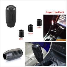 Universal 100% Real Carbon Fiber Car Gear Shift Knob Shifter Straight Black